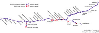 Map of London Crossrail rail network