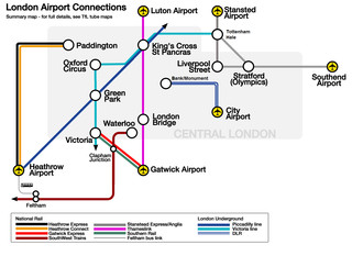 Map of Heathrow, Gatwick, Stansted, Luton, London City, Southend airports transportation