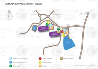 Map of London Gatwick airport & terminal (LGW)