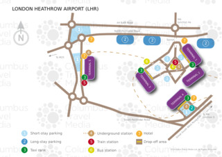 Map of London Heathrow airport & terminal (LHR)