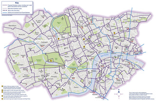 Cycle routes, cycle paths, cycle lanes of London